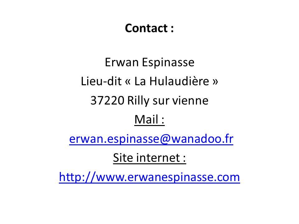Contact : Erwan Espinasse Lieu-dit « La Hulaudière » 37220 Rilly sur vienne Mail : erwan.espinasse@wanadoo.fr Site internet : http://www.erwanespinass
