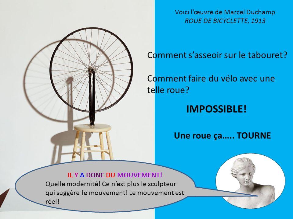 Voici lœuvre de Marcel Duchamp ROUE DE BICYCLETTE, 1913 Comment sasseoir sur le tabouret? Comment faire du vélo avec une telle roue? IMPOSSIBLE! Une r