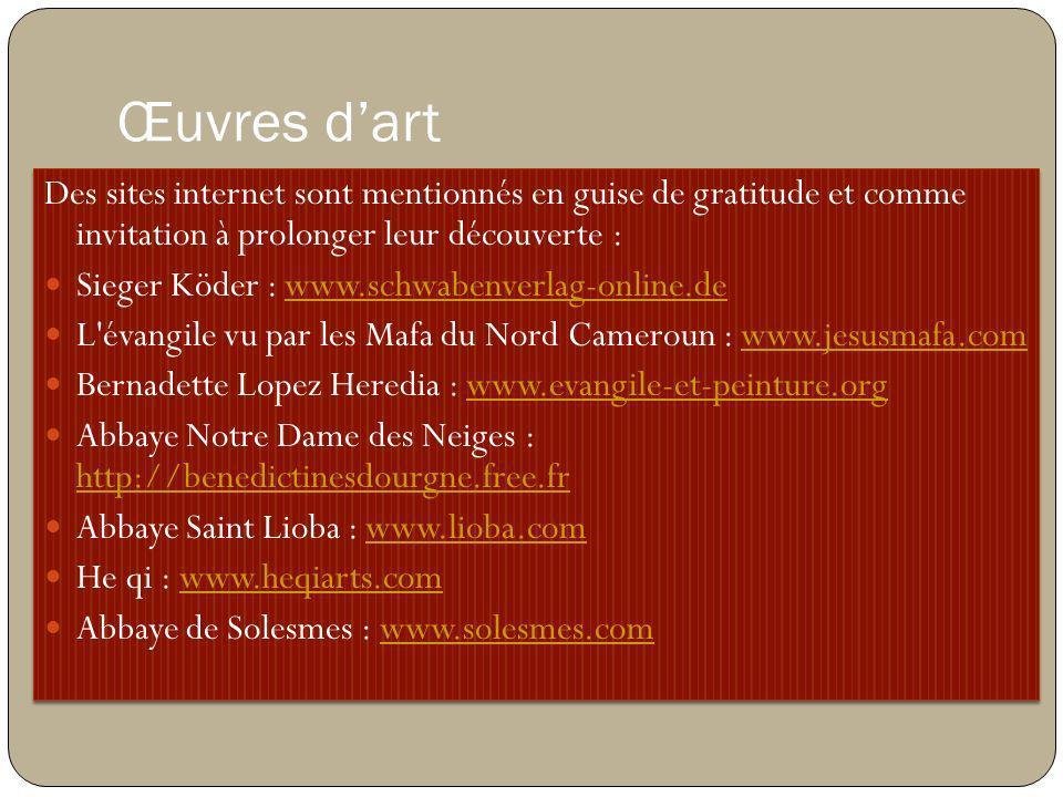Des sites internet sont mentionnés en guise de gratitude et comme invitation à prolonger leur découverte : Sieger Köder : www.schwabenverlag-online.de