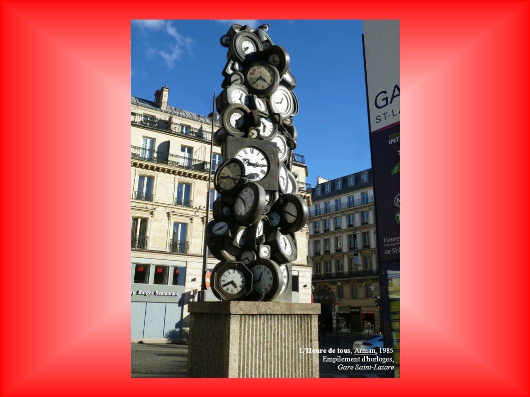 L'Heure de tous, Arman, 1985 Empilement d'horloges, Gare Saint-Lazare