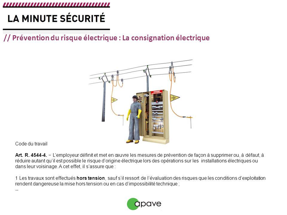 // Prévention du risque électrique : La consignation électrique Code du travail Art. R. 4544-4. Lemployeur définit et met en œuvre les mesures de prév