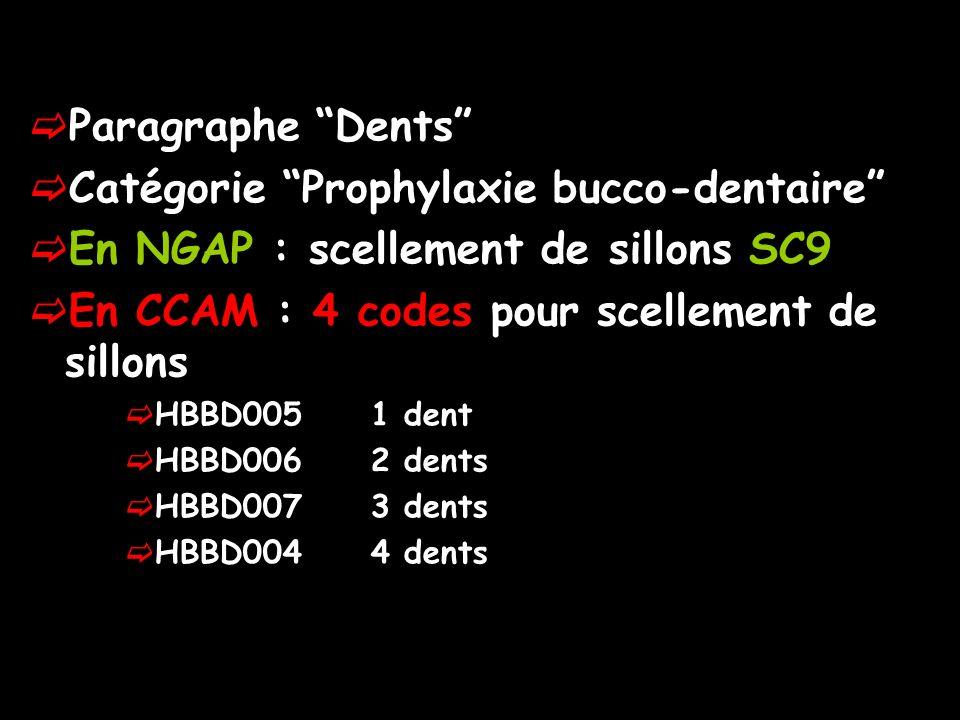 Paragraphe Dents Catégorie Prophylaxie bucco-dentaire En NGAP : scellement de sillons SC9 En CCAM : 4 codes pour scellement de sillons HBBD005 1 dent