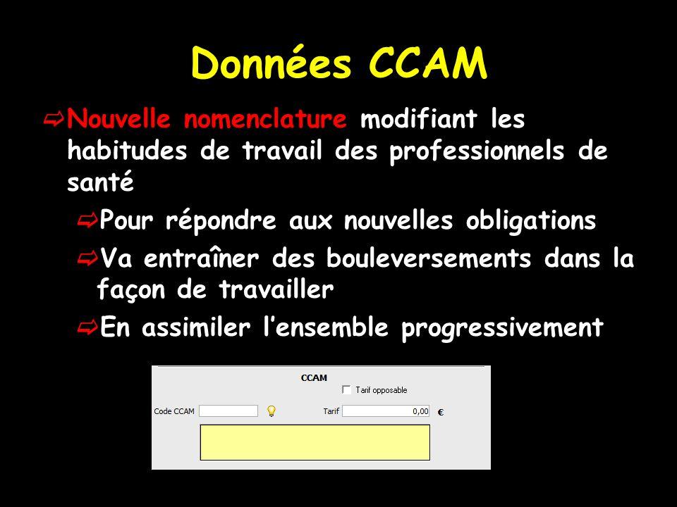La CCAM (classification commune des actes médicaux) Recense lensemble des actes réalisables par lensemble des professionnels de santé Chaque acte est décrit par un code comportant 7 caractères A un acte ne peut correspondre quun seul code et à un code ne peut correspondre quun seul acte