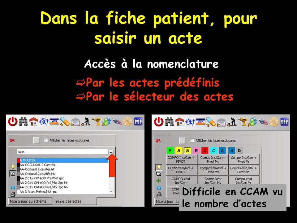 Dans la fiche patient, pour saisir un acte Accès à la nomenclature Par les actes prédéfinis Par le sélecteur des actes Difficile en CCAM vu le nombre