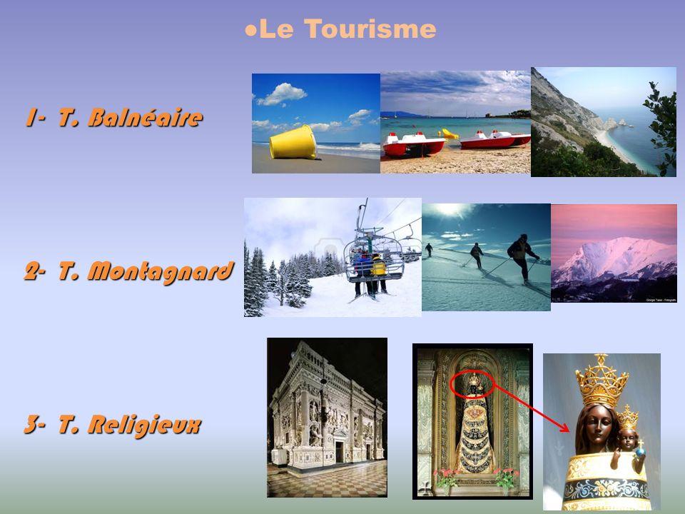 Le Tourisme 1- T. Balnéaire 2- T. Montagnard 3- T. Religieux