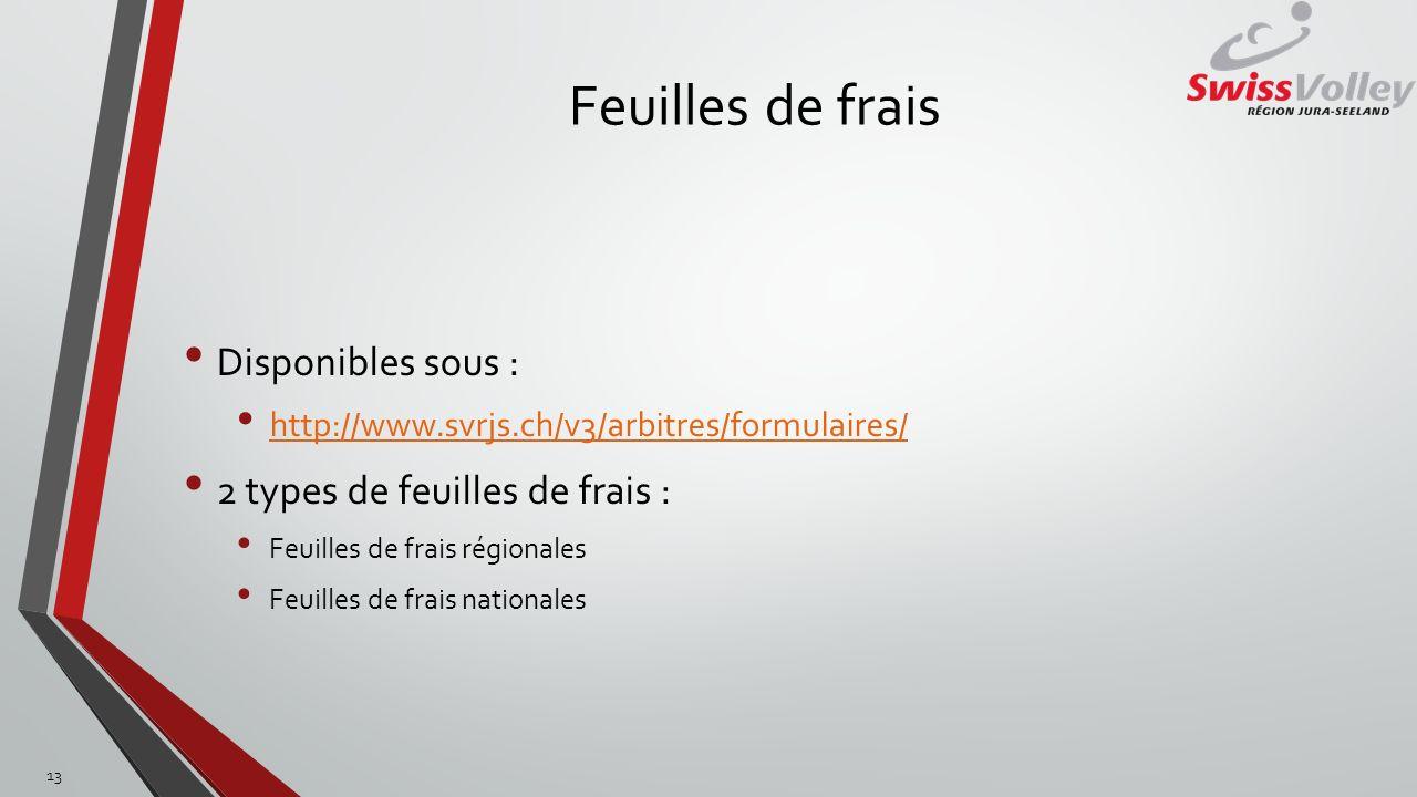 Feuilles de frais Disponibles sous : http://www.svrjs.ch/v3/arbitres/formulaires/ 2 types de feuilles de frais : Feuilles de frais régionales Feuilles