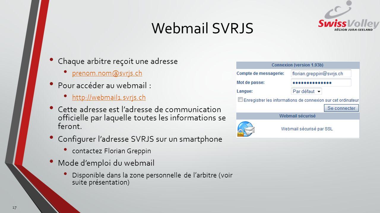 Webmail SVRJS Chaque arbitre reçoit une adresse prenom.nom@svrjs.ch Pour accéder au webmail : http://webmail1.svrjs.ch Cette adresse est ladresse de c