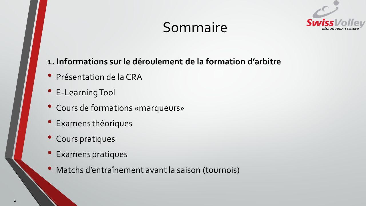 Sommaire 1. Informations sur le déroulement de la formation darbitre Présentation de la CRA E-Learning Tool Cours de formations «marqueurs» Examens th