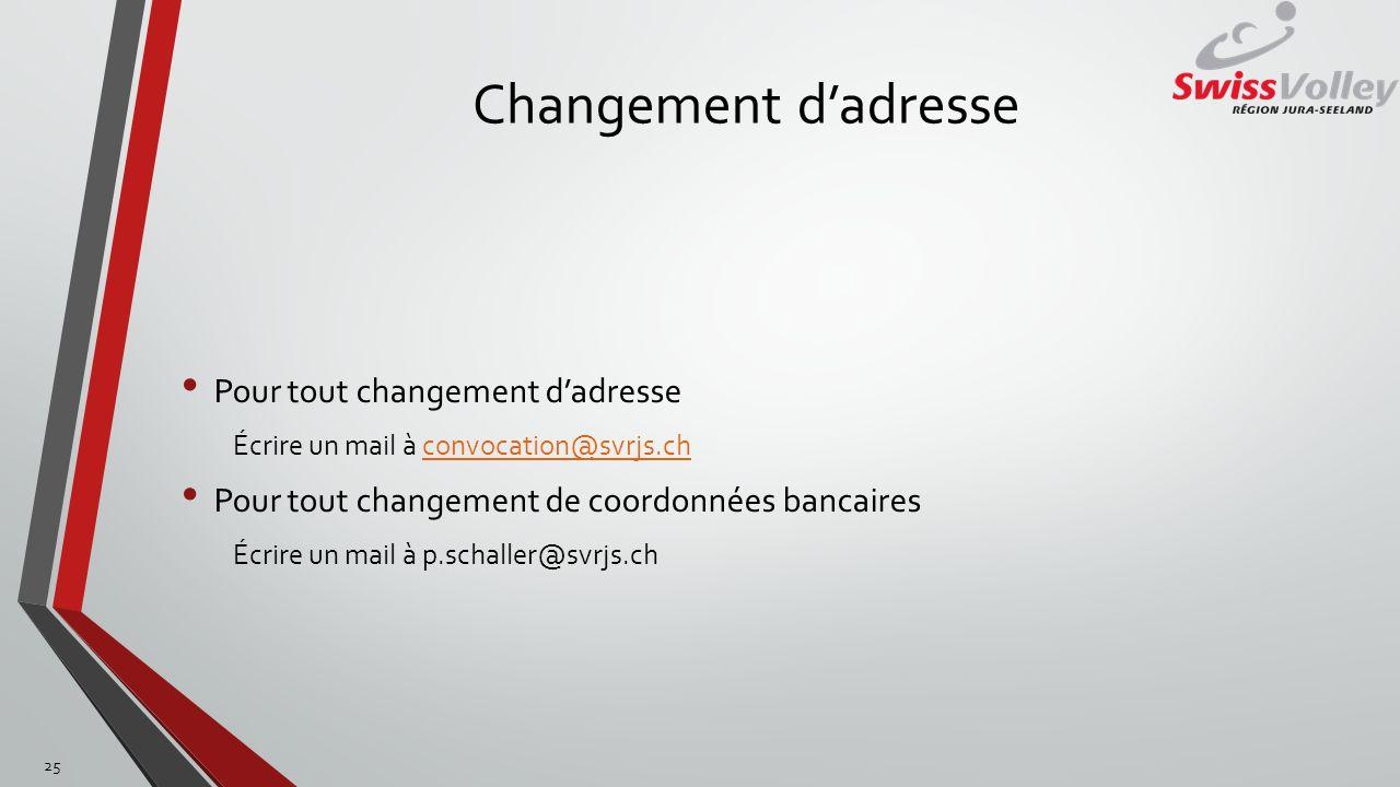 Changement dadresse Pour tout changement dadresse Écrire un mail à convocation@svrjs.chconvocation@svrjs.ch Pour tout changement de coordonnées bancai