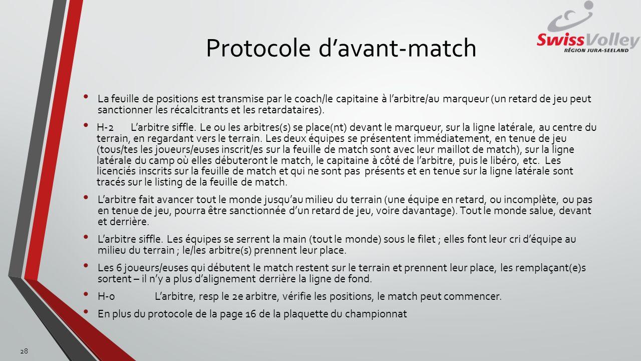 Protocole davant-match La feuille de positions est transmise par le coach/le capitaine à larbitre/au marqueur (un retard de jeu peut sanctionner les r