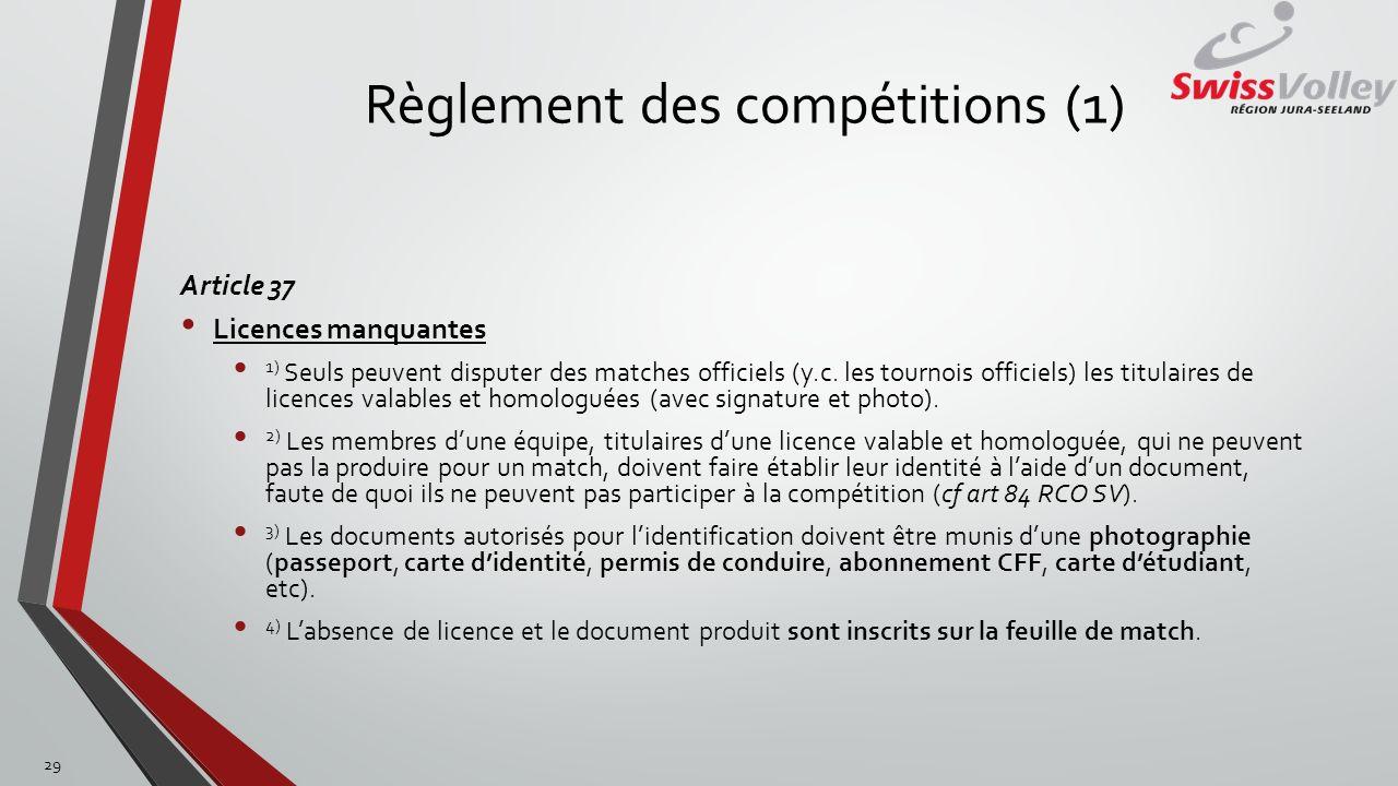 Règlement des compétitions (1) Article 37 Licences manquantes 1) Seuls peuvent disputer des matches officiels (y.c. les tournois officiels) les titula