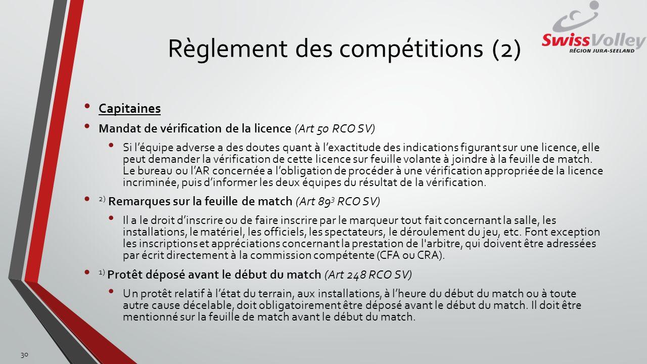 Règlement des compétitions (2) Capitaines Mandat de vérification de la licence (Art 50 RCO SV) Si léquipe adverse a des doutes quant à lexactitude des
