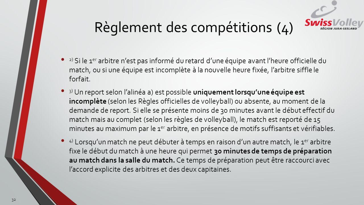 Règlement des compétitions (4) 2) Si le 1 er arbitre nest pas informé du retard dune équipe avant lheure officielle du match, ou si une équipe est inc