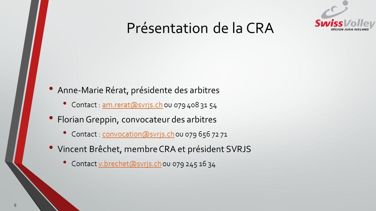 Présentation de la CRA Anne-Marie Rérat, présidente des arbitres Contact : am.rerat@svrjs.ch ou 079 408 31 54am.rerat@svrjs.ch Florian Greppin, convoc