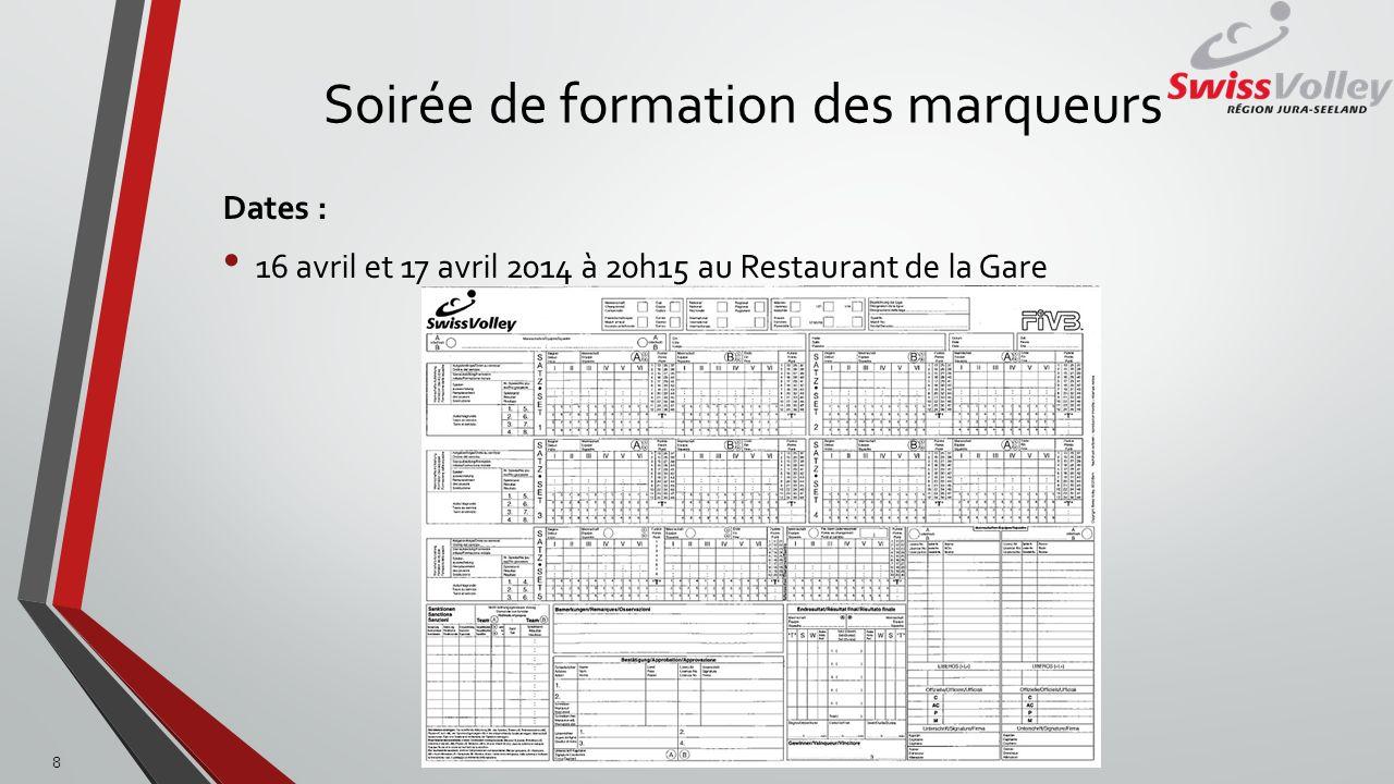 Soirée de formation des marqueurs Dates : 16 avril et 17 avril 2014 à 20h15 au Restaurant de la Gare 8