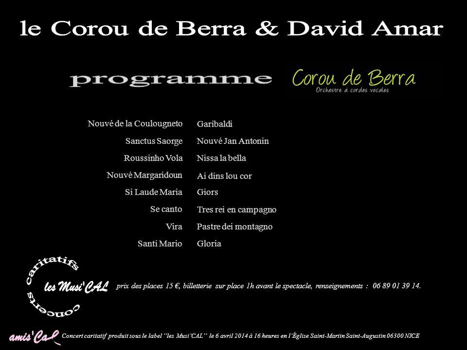 Concert caritatif produit sous le label les MusiCAL le 6 avril 2014 à 16 heures en lÉglise Saint-Martin Saint-Augustin 06300 NICE Saint-Martin Saint-A