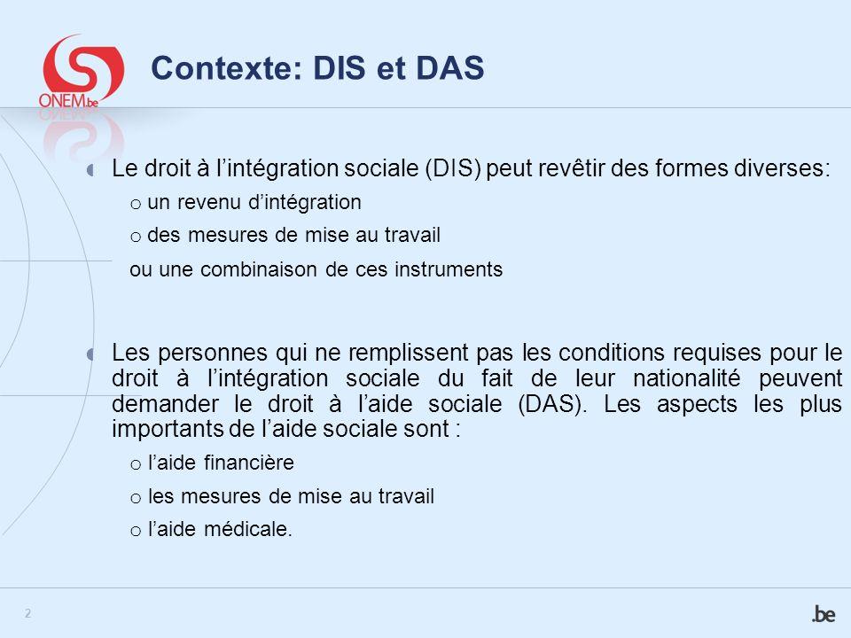 2 Contexte: DIS et DAS Le droit à lintégration sociale (DIS) peut revêtir des formes diverses: o un revenu dintégration o des mesures de mise au trava