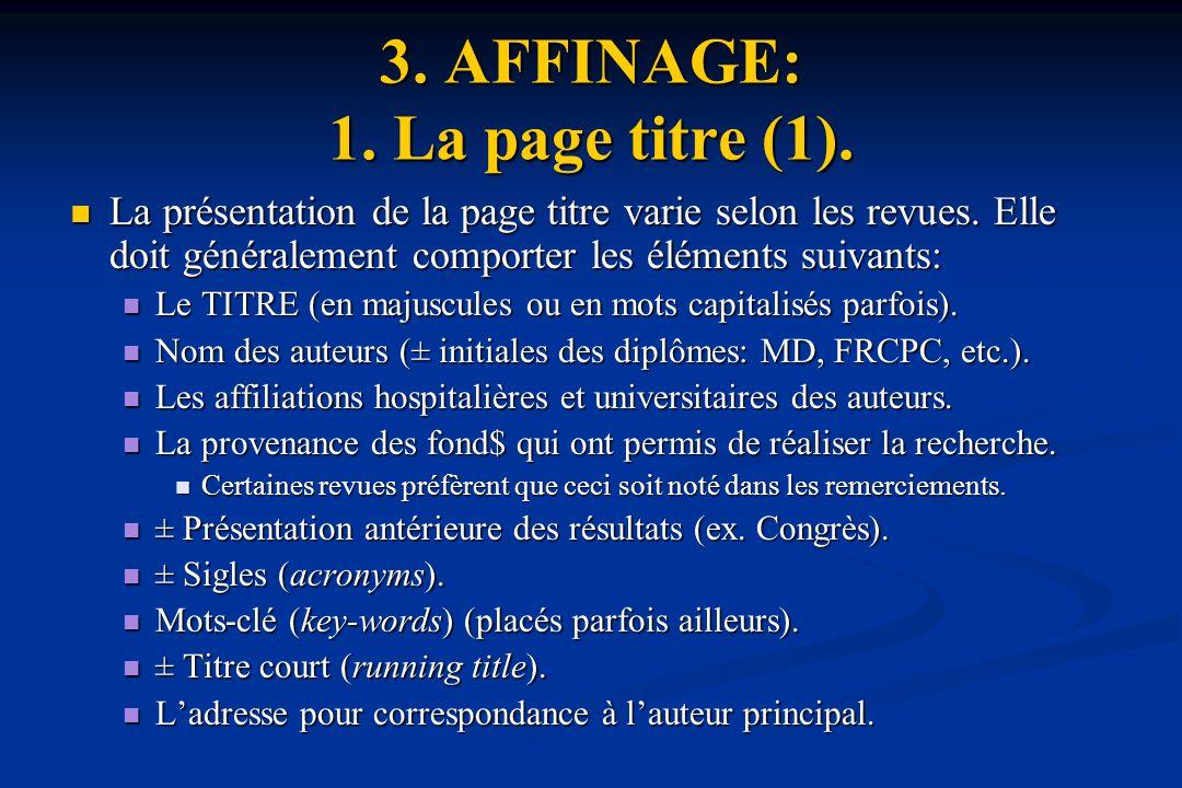 3.AFFINAGE: 1. La page titre (1). La présentation de la page titre varie selon les revues.