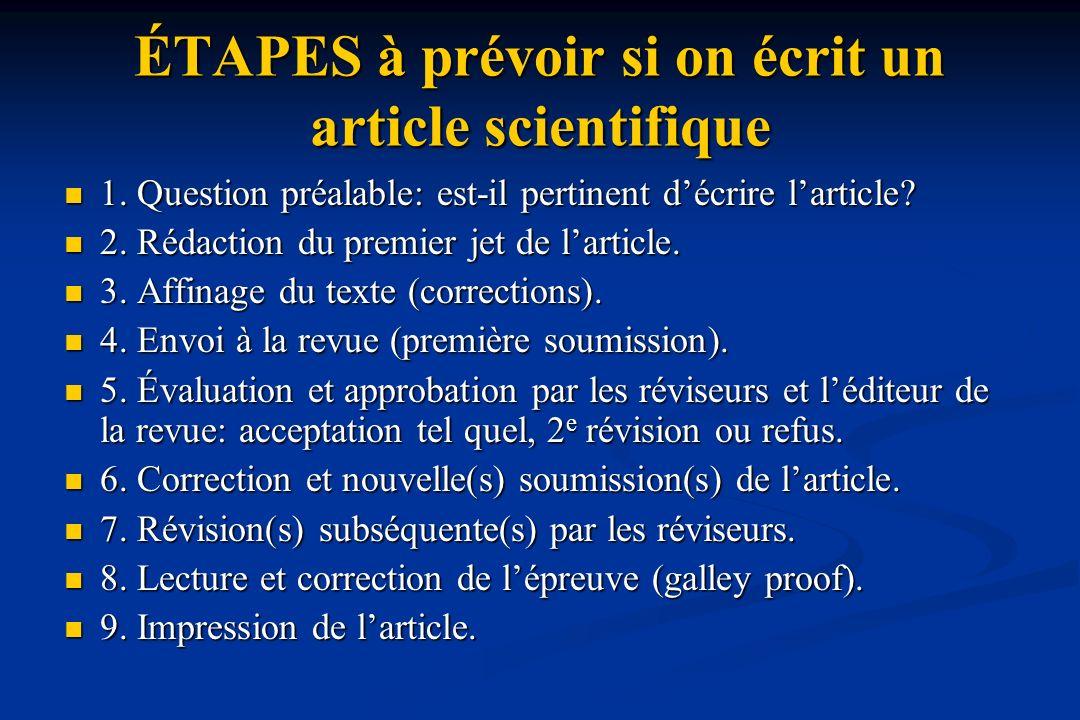 ÉTAPES à prévoir si on écrit un article scientifique 1.
