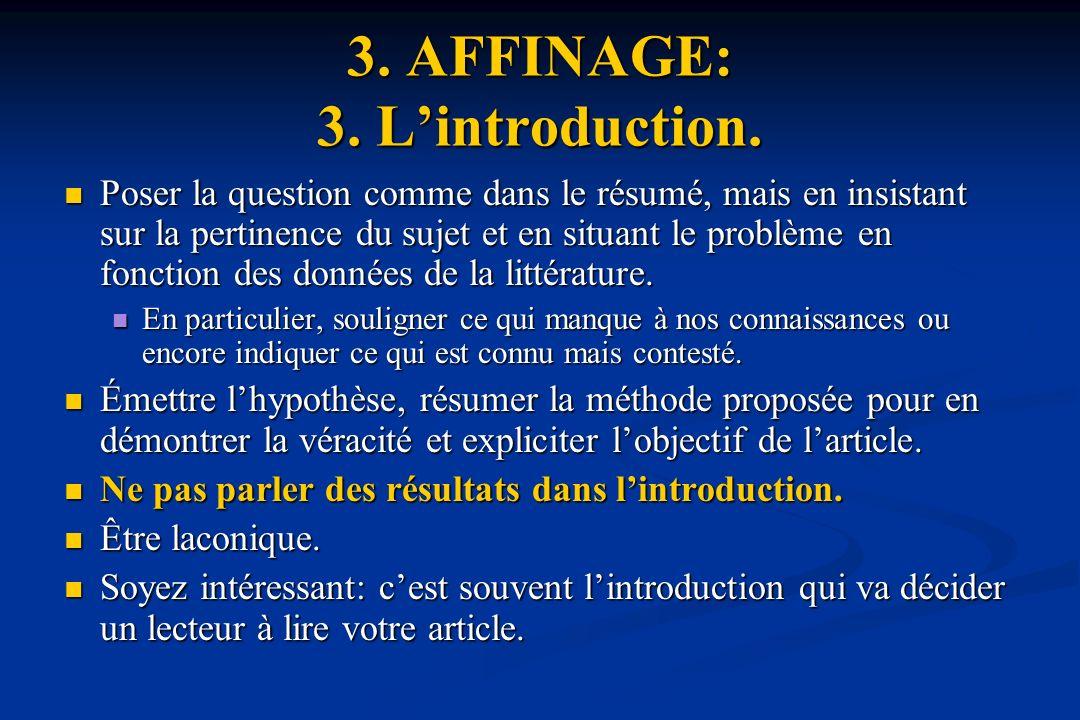 3.AFFINAGE: 3. Lintroduction.
