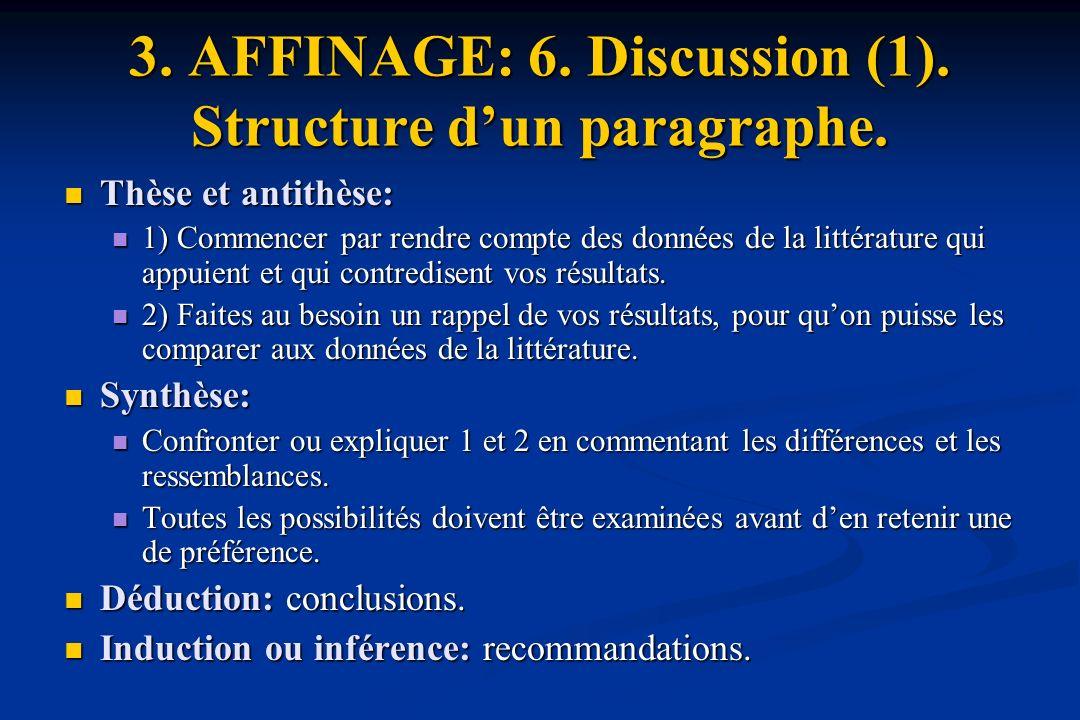 3.AFFINAGE: 6. Discussion (1). Structure dun paragraphe.
