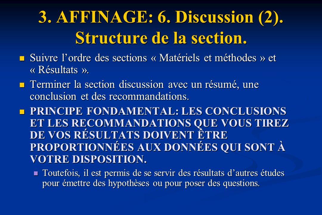 3.AFFINAGE: 6. Discussion (2). Structure de la section.