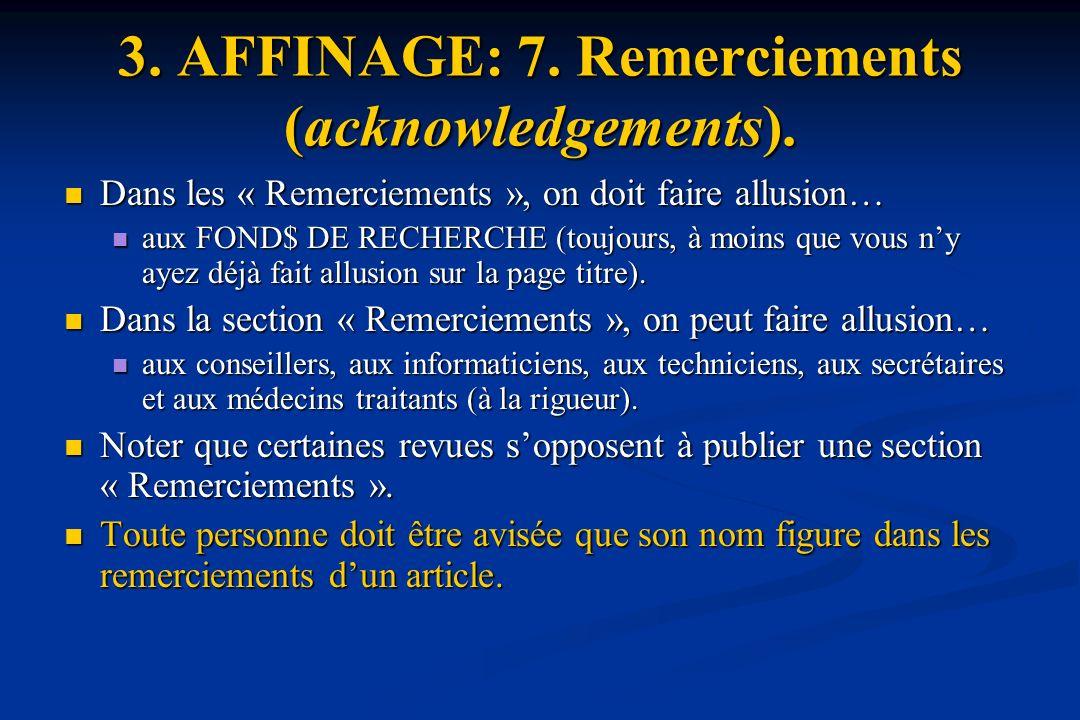 3.AFFINAGE: 7. Remerciements (acknowledgements).