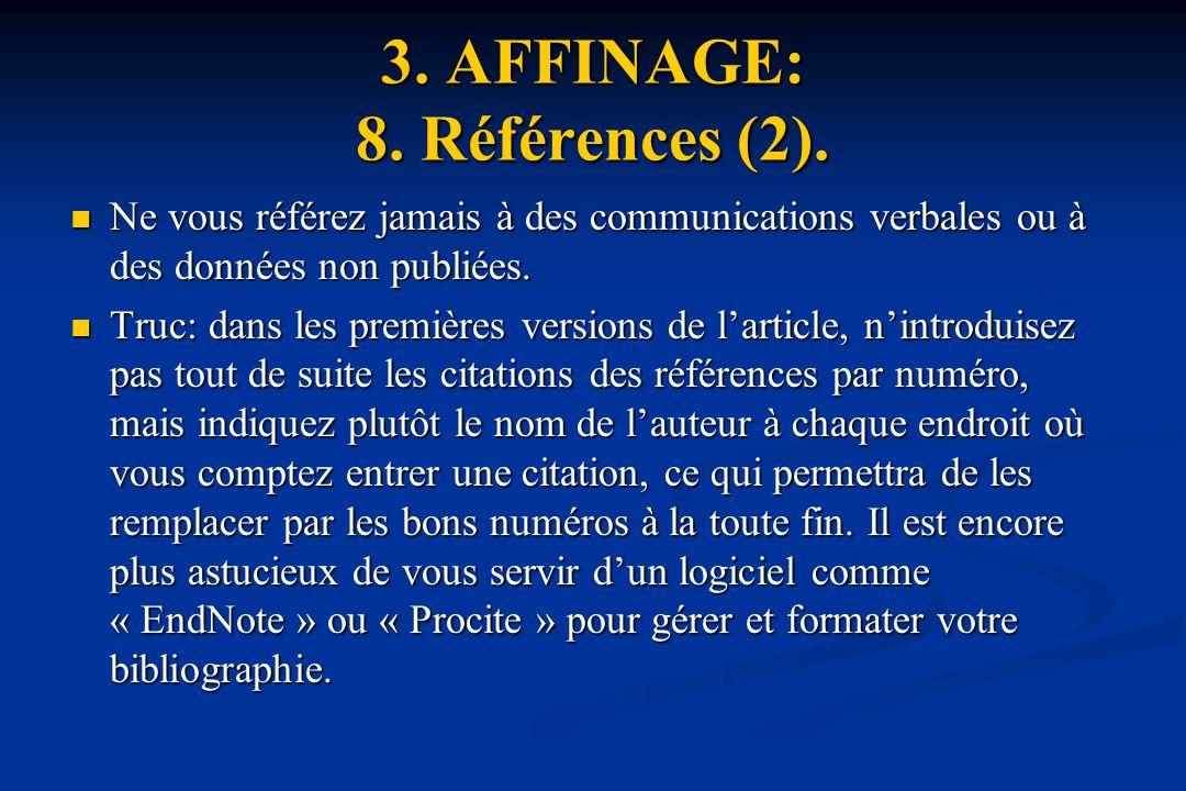 3.AFFINAGE: 8. Références (2).