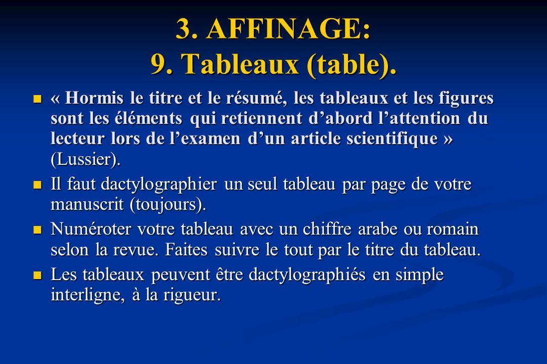 3.AFFINAGE: 9. Tableaux (table).