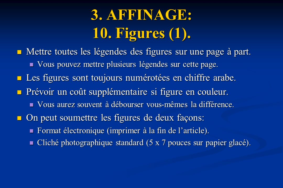 3.AFFINAGE: 10. Figures (1). Mettre toutes les légendes des figures sur une page à part.