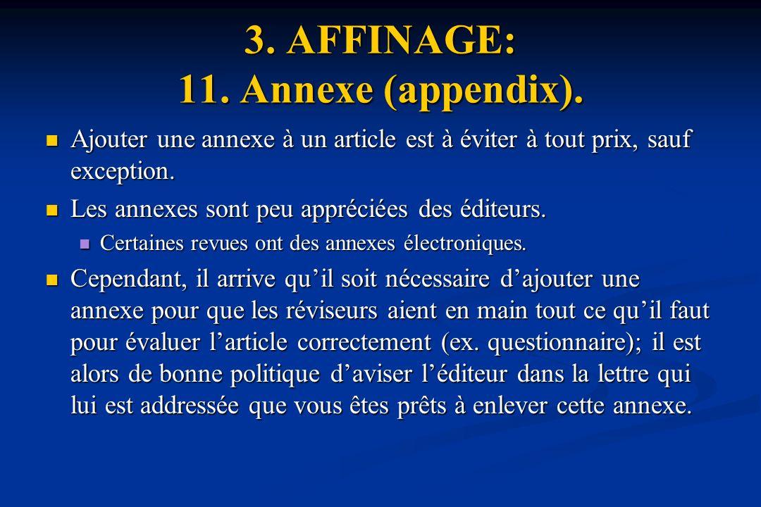 3.AFFINAGE: 11. Annexe (appendix).