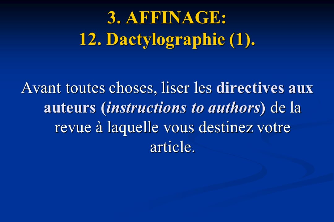 3.AFFINAGE: 12. Dactylographie (1).