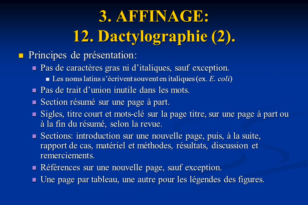 3.AFFINAGE: 12. Dactylographie (2).