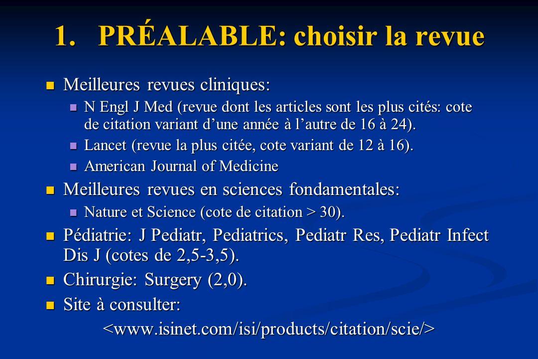 1.PRÉALABLE: choisir la revue Meilleures revues cliniques: Meilleures revues cliniques: N Engl J Med (revue dont les articles sont les plus cités: cote de citation variant dune année à lautre de 16 à 24).
