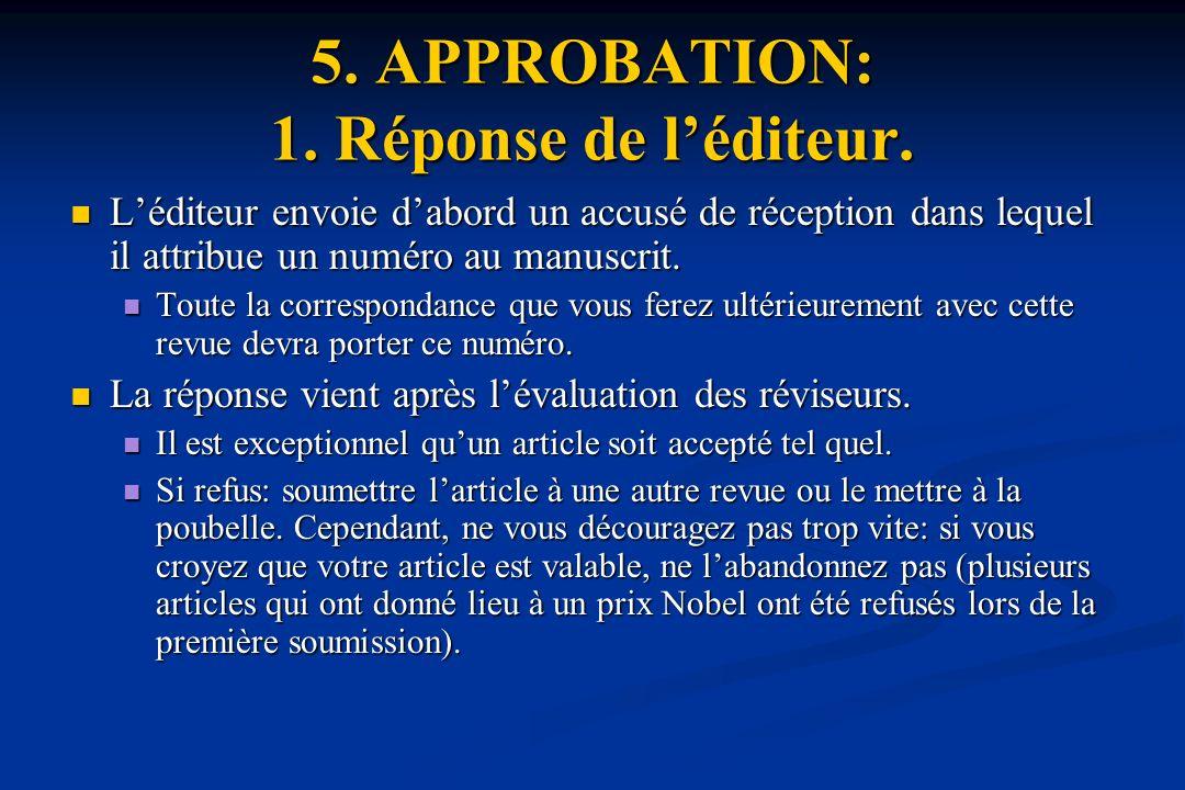 5.APPROBATION: 1. Réponse de léditeur.