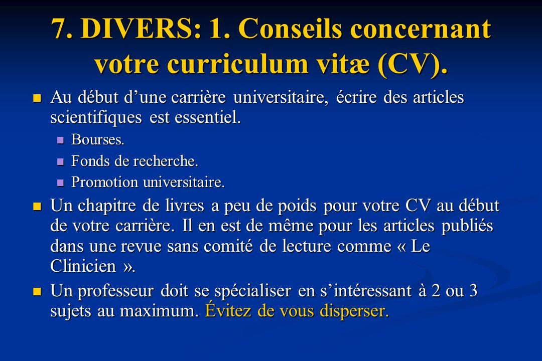 7.DIVERS: 1. Conseils concernant votre curriculum vitæ (CV).