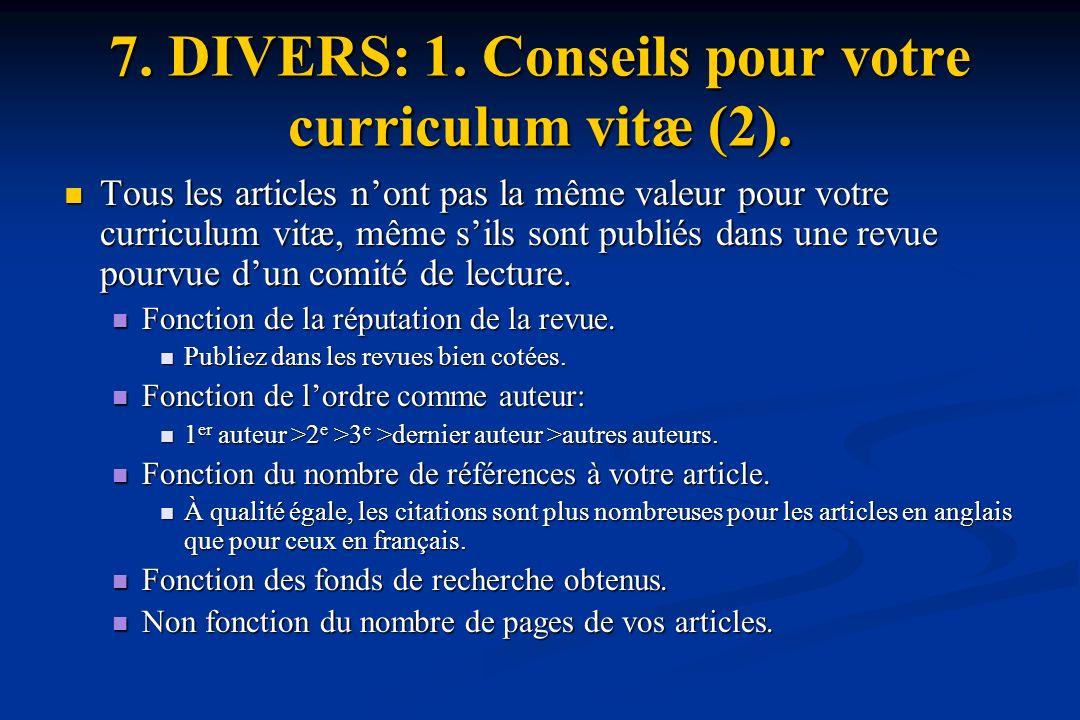 7.DIVERS: 1. Conseils pour votre curriculum vitæ (2).