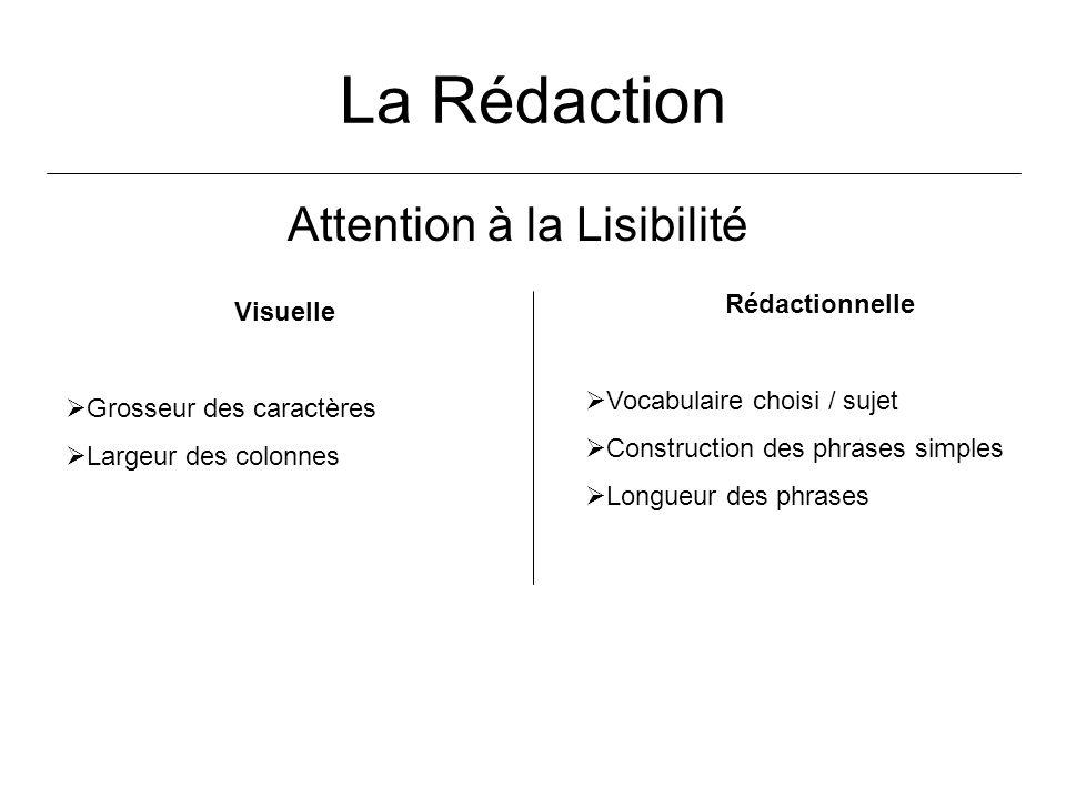 La Rédaction Attention à la Lisibilité Visuelle Grosseur des caractères Largeur des colonnes Rédactionnelle Vocabulaire choisi / sujet Construction de