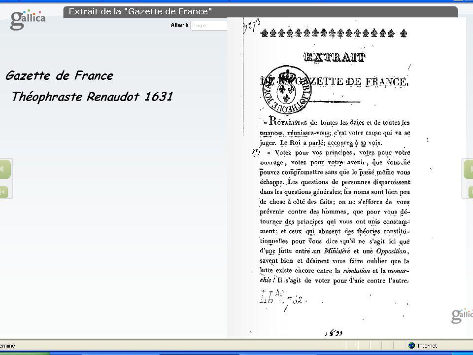 Gazette de France Théophraste Renaudot 1631