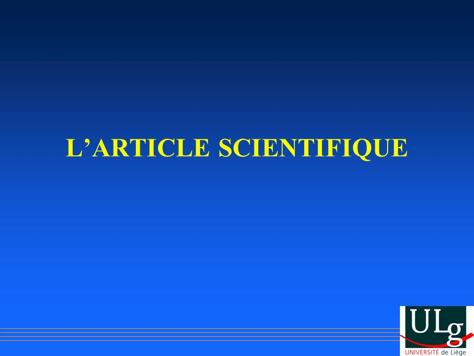 LARTICLE SCIENTIFIQUE