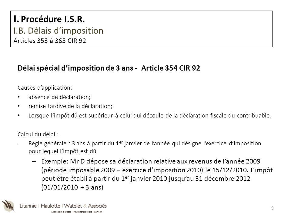 Association davocats – Advocatenassociatie – Law firm I.A.3.