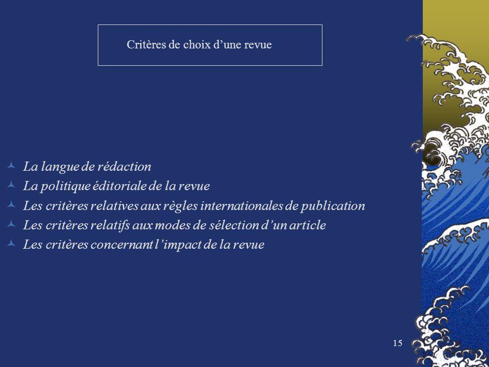 15 Critères de choix dune revue La langue de rédaction La politique éditoriale de la revue Les critères relatives aux règles internationales de public