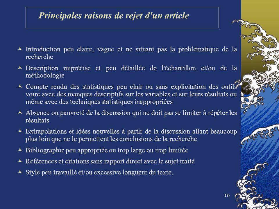 16 Principales raisons de rejet d'un article Introduction peu claire, vague et ne situant pas la problématique de la recherche Description imprécise e