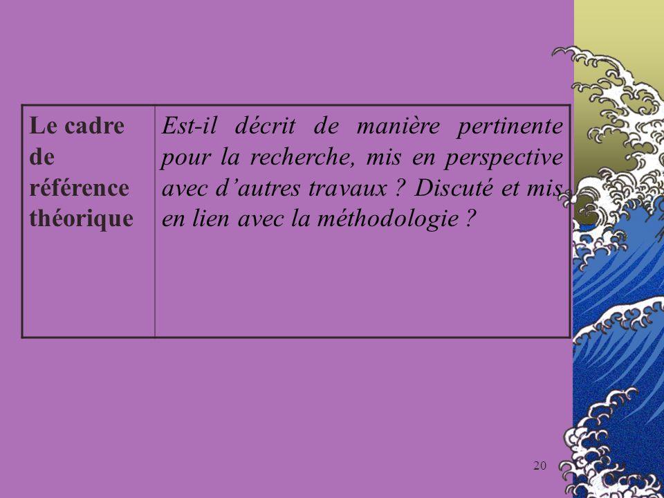20 Le cadre de référence théorique Est-il décrit de manière pertinente pour la recherche, mis en perspective avec dautres travaux ? Discuté et mis en