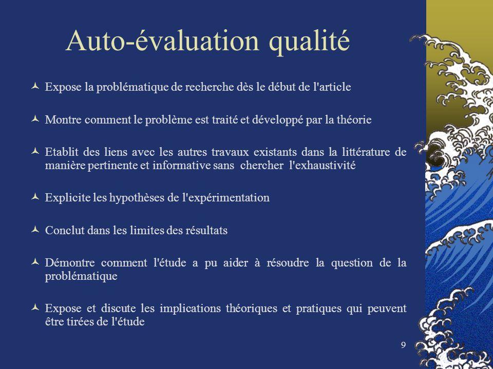 9 Auto-évaluation qualité Expose la problématique de recherche dès le début de l'article Montre comment le problème est traité et développé par la thé