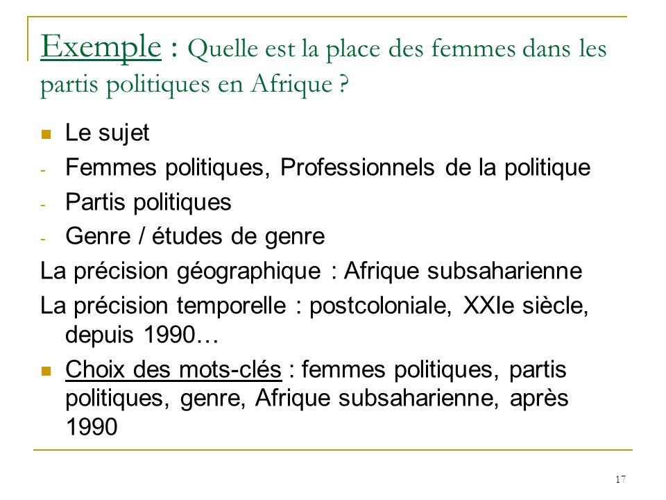 Exemple : Quelle est la place des femmes dans les partis politiques en Afrique .