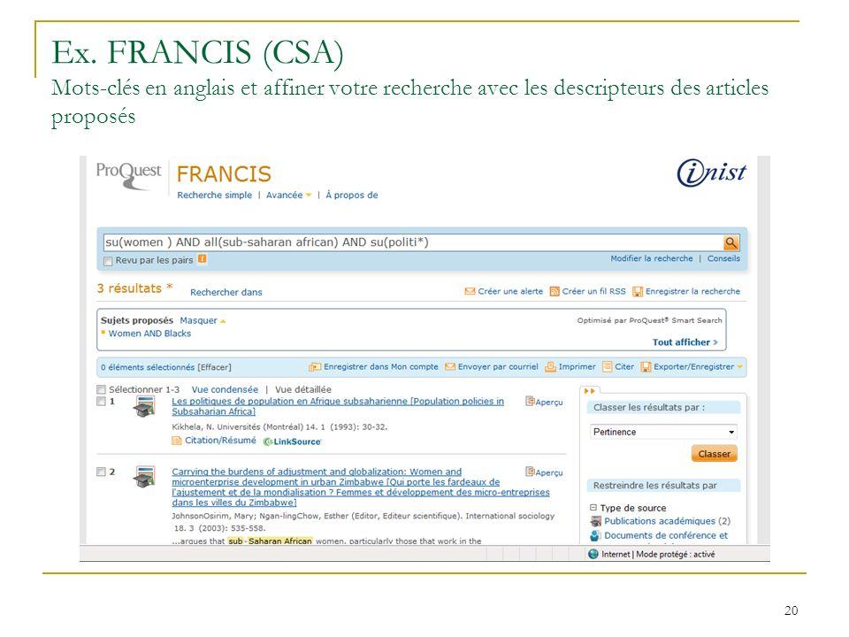 Ex. FRANCIS (CSA) Mots-clés en anglais et affiner votre recherche avec les descripteurs des articles proposés 20