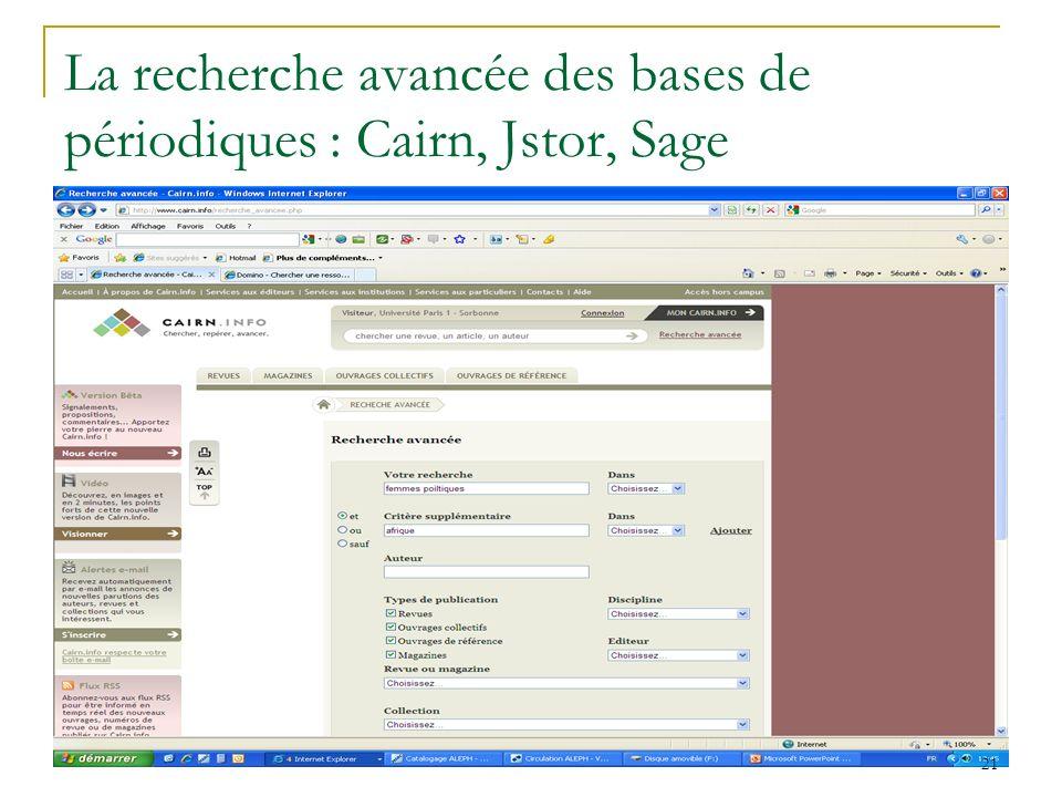 La recherche avancée des bases de périodiques : Cairn, Jstor, Sage 21