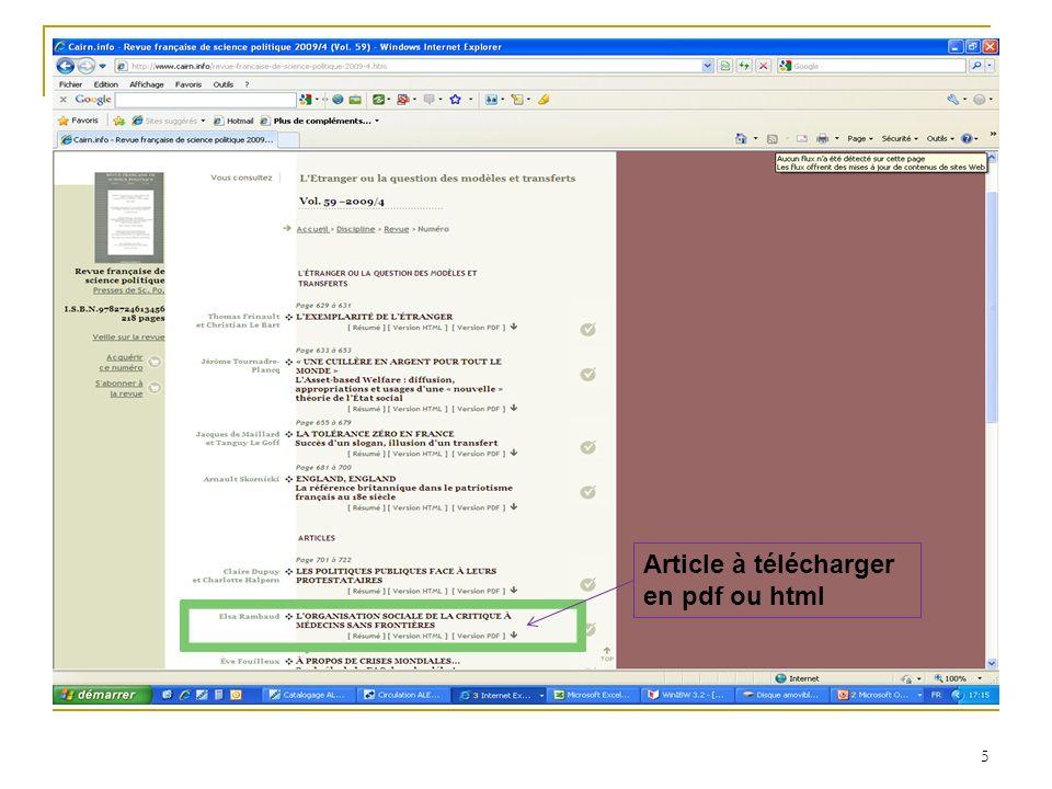 Article à télécharger en pdf ou html 5