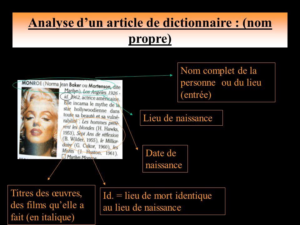Analyse dun article de dictionnaire: (nom commun) Lentrée Il donne l écriture phonétique du mot (prononciation).